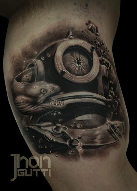 Tattoos - OLD DIVER HELMET - 113975