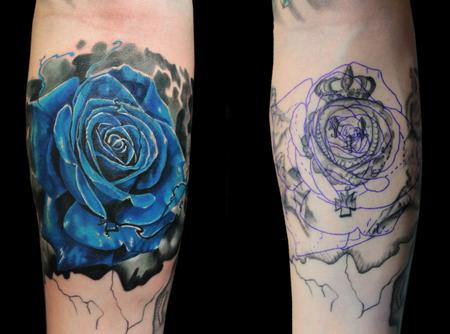 Blue Rose Cover-up Tattoo Design Thumbnail