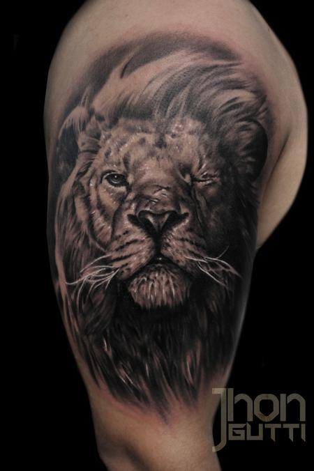 Tattoos - LION WITH SCAR  - 104336