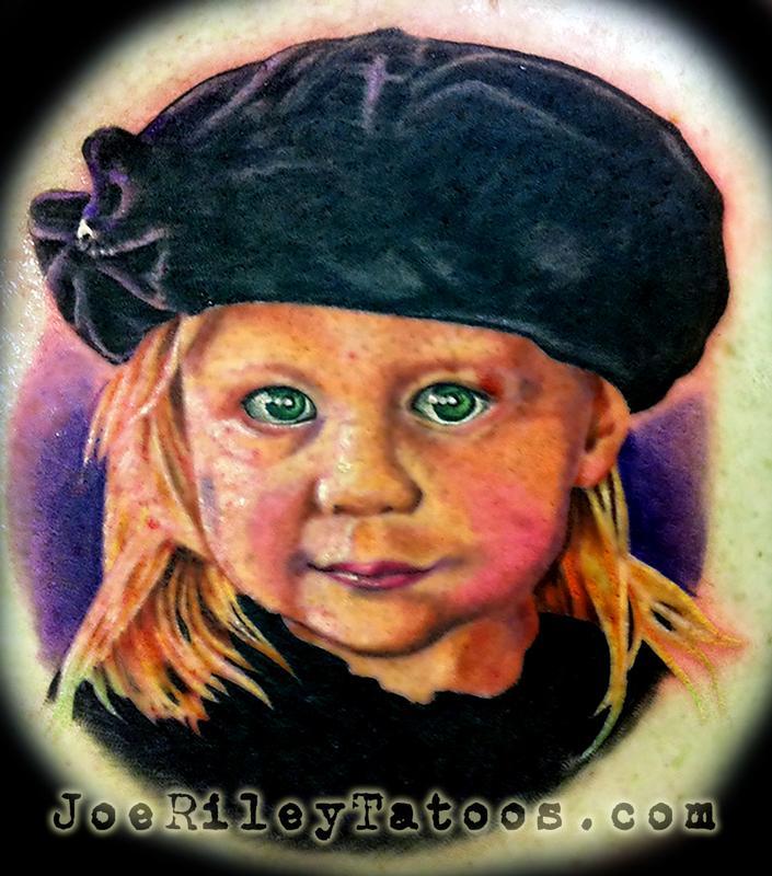 baby portrait tattoo by joe riley tattoonow