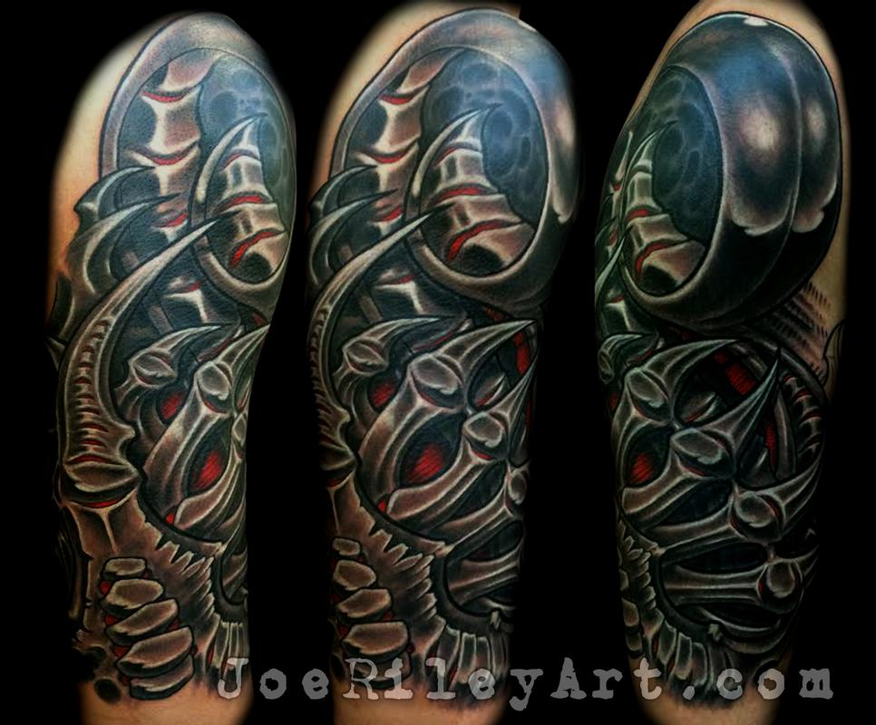 biomech half sleeve by joe riley tattoonow. Black Bedroom Furniture Sets. Home Design Ideas