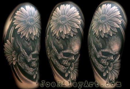 Skull with Daisies Tattoo Tattoo Design