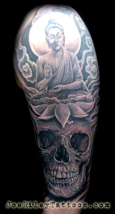 Tattoos - Buddha Lotus and Skull Tattoo - 117627