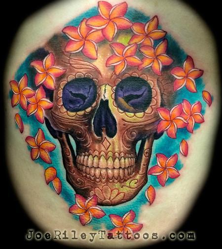 Joe Riley - Skull and Flowers Tattoo