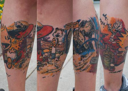 Tattoos - Calvin and Hobbes leg wrap around - 98728