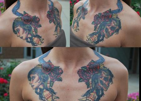 Tattoos - Life and Death gypsy chest piece - 98736