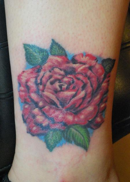 Tattoos - Painted rose ankle - 98747