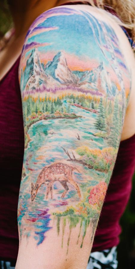 Tattoos - Colorado Oil Paint Landscape Half Sleeve - 98676