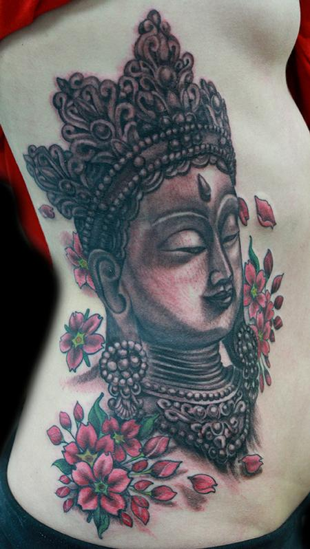 Tattoos - Buddha and cherry blossom tattoo - 99043