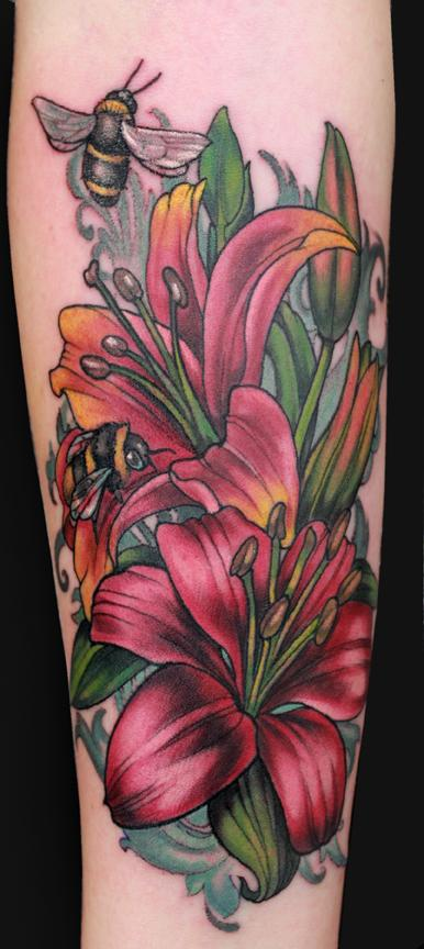 Katelyn Crane - Lillies and bees tattoo
