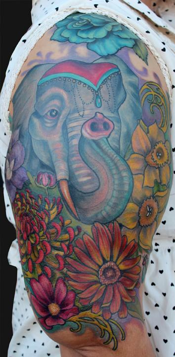 Elephant and Birth flower tattoo Tattoo Design Thumbnail