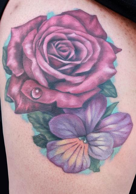 Rose and Violet tattoo by Katelyn Crane : Tattoos