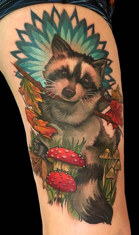 Raccoon with Mushrooms  Design Thumbnail