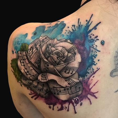Tattoos - Watercolor Rose with Music Notes - 132593