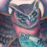 Owl holding diamond tattoo Tattoo Design Thumbnail