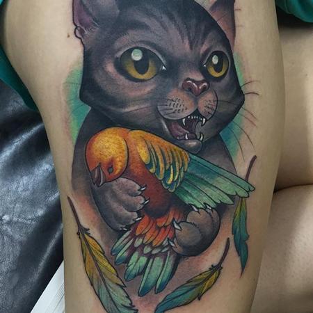 Tattoos - Cat and bird tattoo - 133098