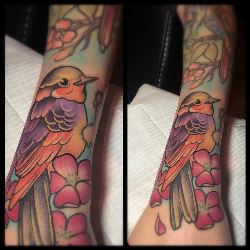 Tattoo By Laurajadetattoos Laura: Colorful Bird And Blossoms By Laura Jade : Tattoos