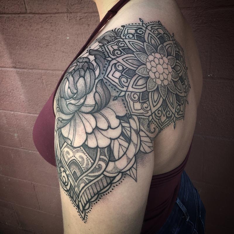 Ornamental floral mandala shoulder cap tattoo by laura for Mandala shoulder tattoo