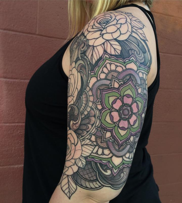 roses with mandala half sleeve in progress by laura jade tattoonow. Black Bedroom Furniture Sets. Home Design Ideas