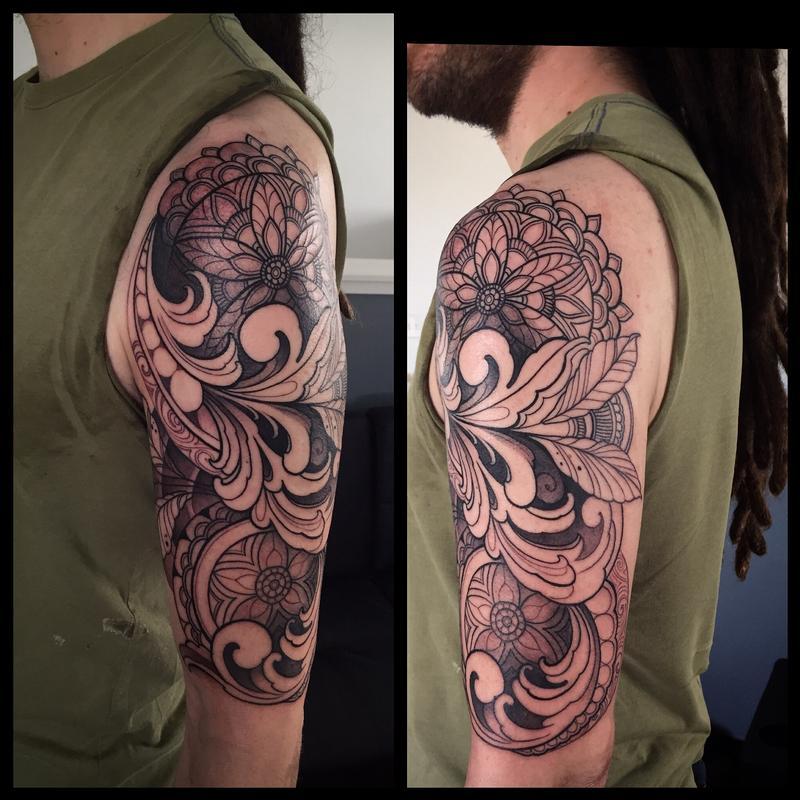 Ornamental half sleeve in progress by Laura Jade : Tattoos