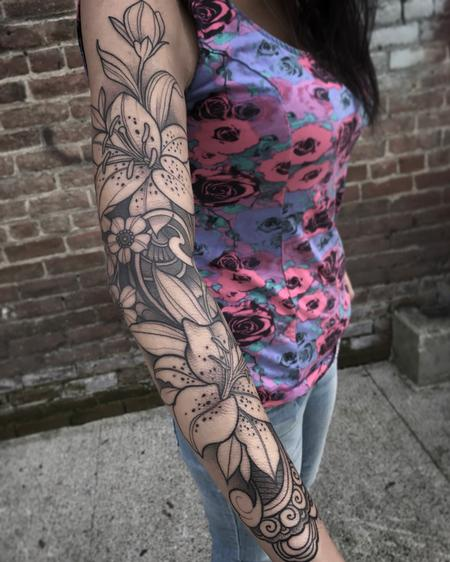 Tattoos - Ornamental Lily sleeve  - 126804