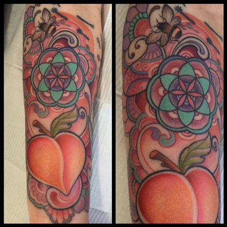 Colorful peach forearm tattoo Design Thumbnail