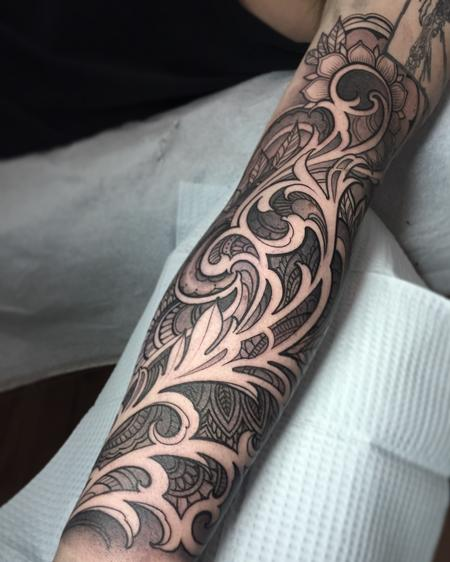 Filigree sleeve with henna inspired designs Tattoo Design Thumbnail