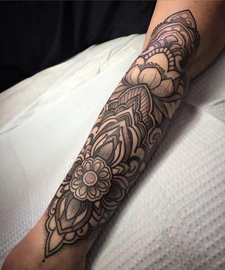 Decorative lotus forearm tattoo Design Thumbnail