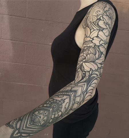 Laura Jade - Ornamental floral sleeve line work