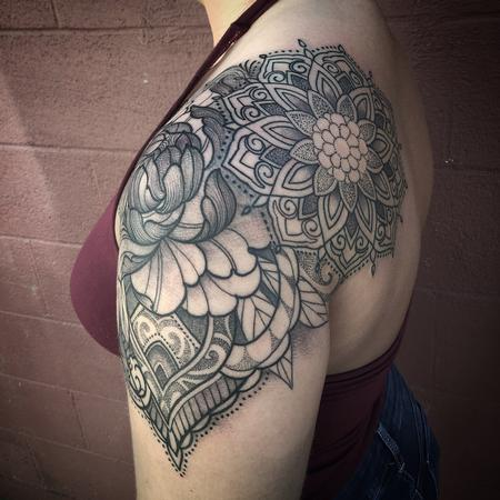 Laura Jade - Ornamental floral mandala shoulder cap tattoo