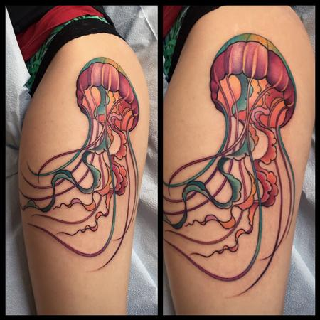 Colorful jellyfish tattoo Tattoo Design Thumbnail