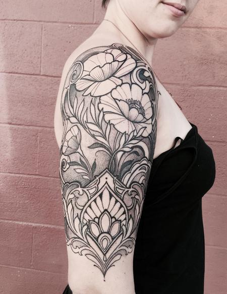 Tattoos - Ornamental arm tattoo with poppies  - 120561