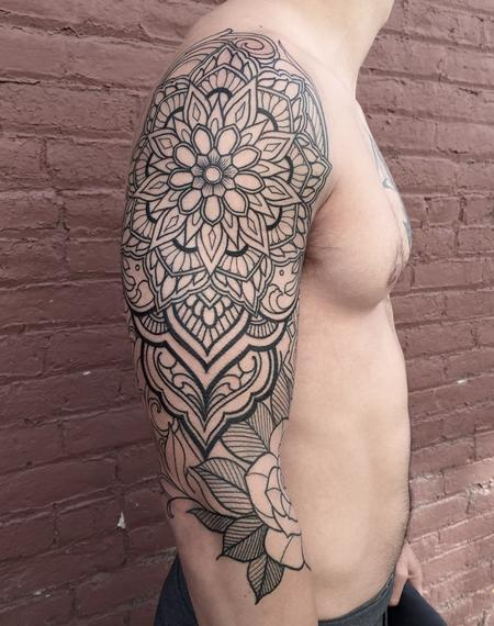 Laura Jade - Mandala sleeve line work in progress