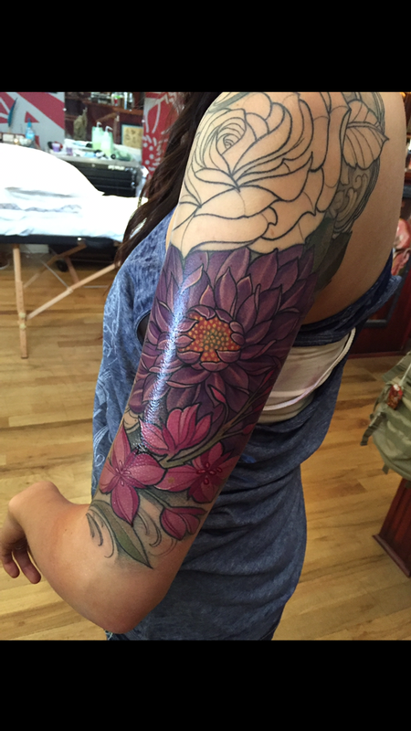 Laura Jade - Colorful floral sleeve in progress