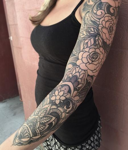 Laura Jade - Ornamental black and gray floral sleeve in progress