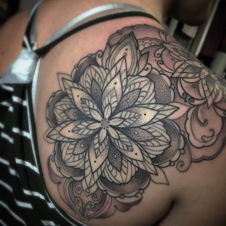 Black and grey mandala shoulder tattoo Tattoo Design Thumbnail