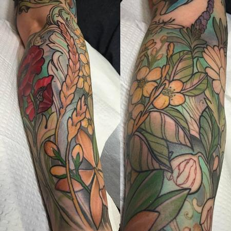 Tattoos - Colorful flowers and spices sleeve in progress - 109021