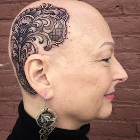 Lace and filigree head tattoo  Tattoo Design