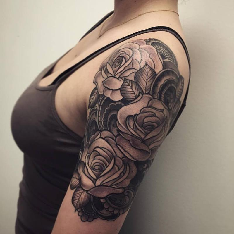 Black And Grey Roses With Henna Inspired Background By