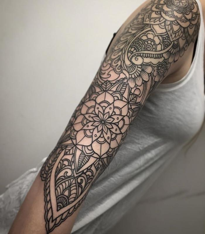 henna inspired line work sleeve by laura jade tattoonow. Black Bedroom Furniture Sets. Home Design Ideas