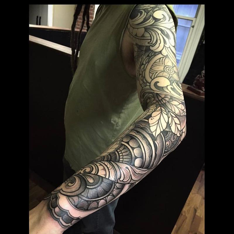 Ornamental black and gray sleeve by laura jade tattoos for Custom tattoo armrest for sale