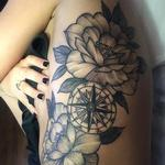 Compass with peonies  Tattoo Design Thumbnail