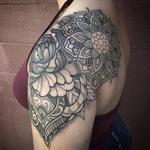 Tattoos - Ornamental floral mandala shoulder cap tattoo - 119436