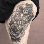 Ornamental heart locket with roses  Tattoo Design Thumbnail