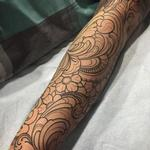 Filigree with blossoms line work Tattoo Design Thumbnail