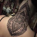 Mandala with henna inspired designs neck tattoo Tattoo Design Thumbnail
