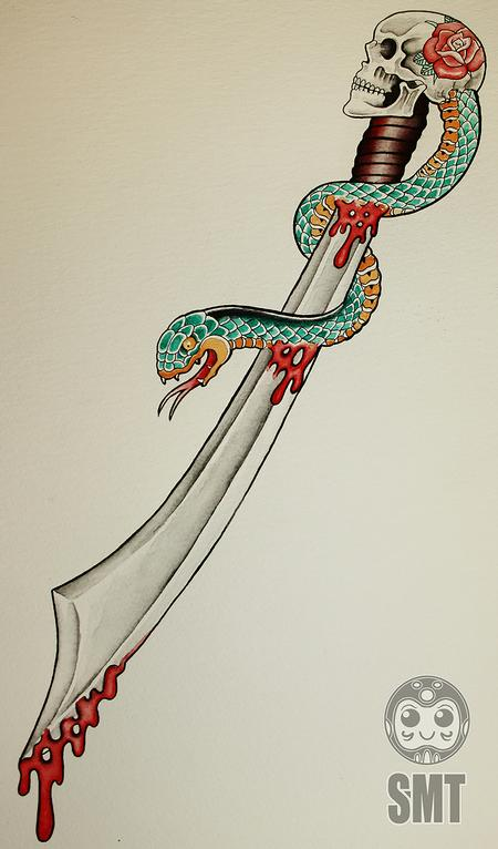 Tattoos - Skull Sword - 112296