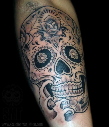 Tattoos - black and Grey Sugar Skull  - 114101