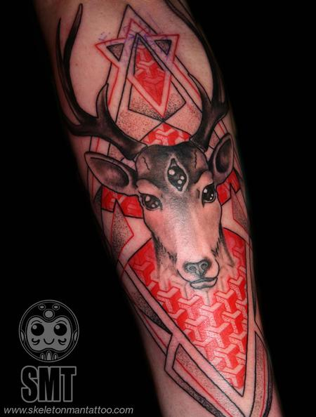 Skeleton Man  - geometric stag tattoo
