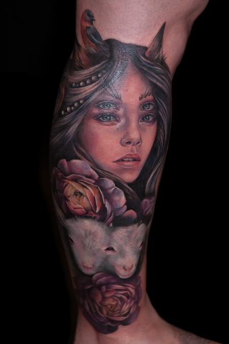 girl with double eyes Tattoo Design Thumbnail